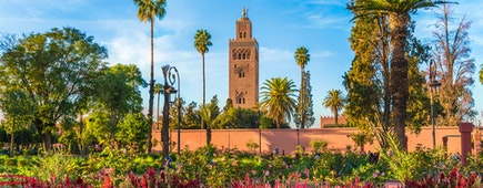 View of Koutoubia Mosque and garden in Marrakesh, Morocco