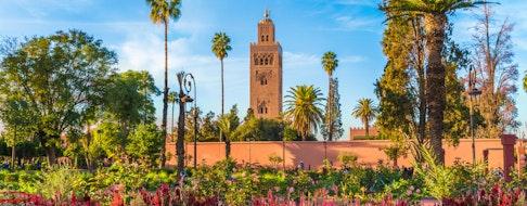View of Koutoubia Mosque and garden in Marrakesh, Morocco