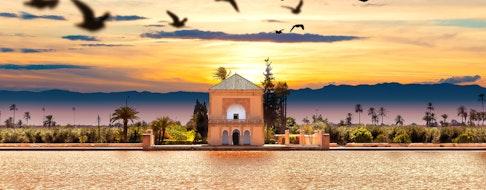 Scenical Menara garden.Travel to morocco. Marrakech Landmark and architecture.Scenic landscape