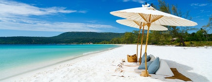 Landscape photo of beautiful white sand exotic beach in Myanmar