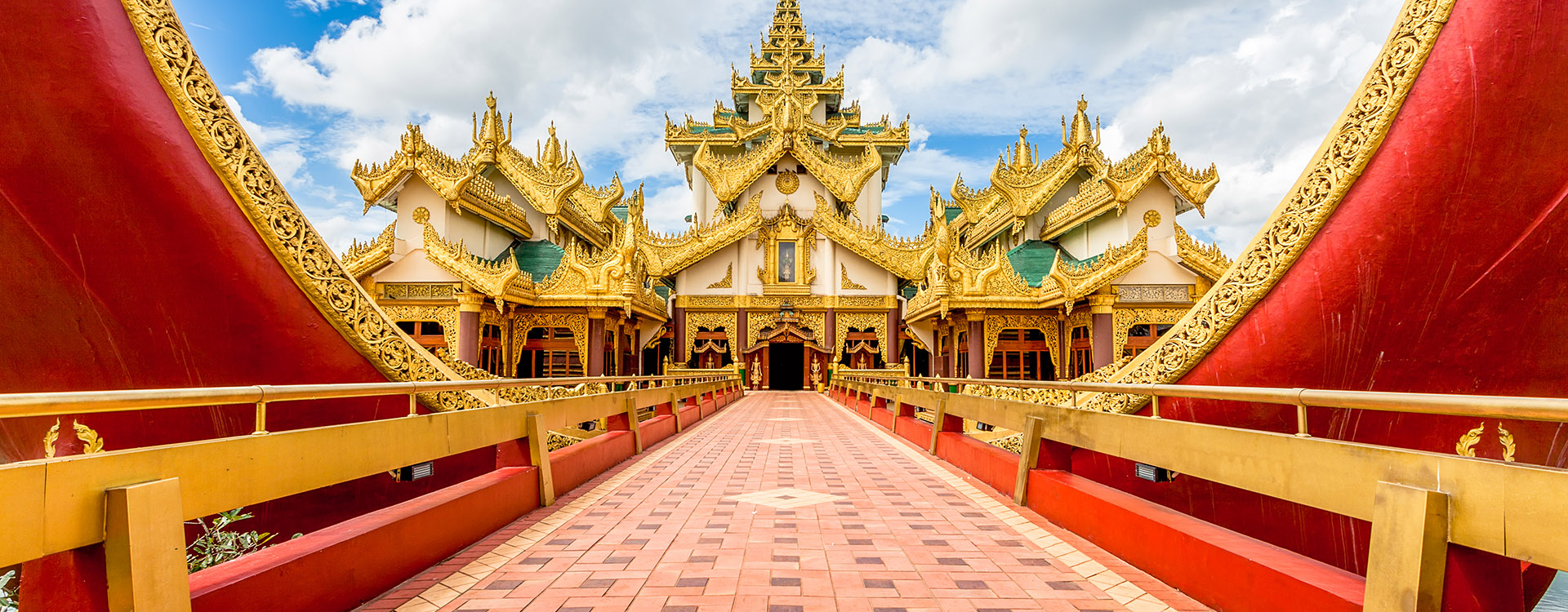 Karaweik palace entrance walkway in Yangon, Myanmar