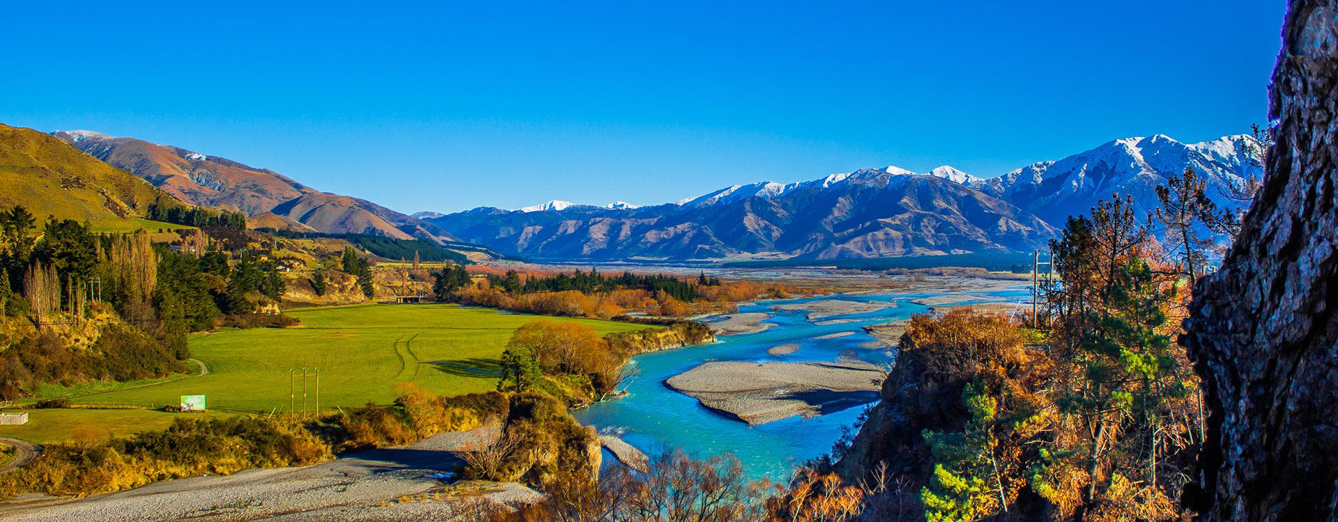 Hurunui river in Southern Alps, Canterbury, New Zealand