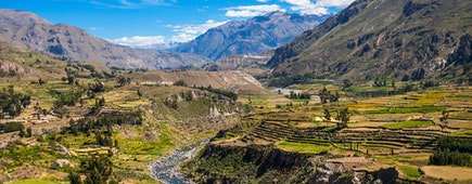 Colca Valley is located about 100 kilometers northwest of Arequipa, Peru