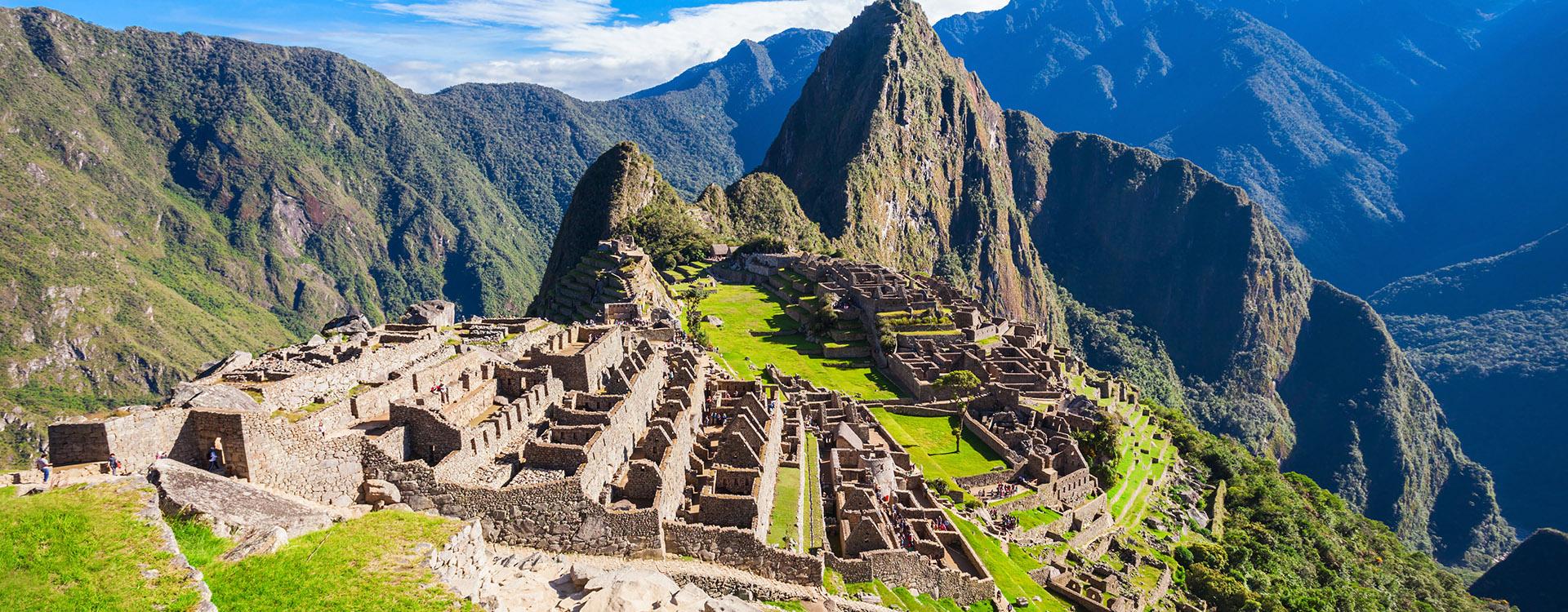 View of the Lost Incan City of Machu Picchu near Cusco, Peru. A UNESCO World Heritage Site