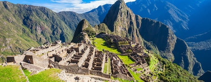 View of the Lost Incan City of Machu Picchu near Cusco, Peru. A UNESCO World Heritage Site