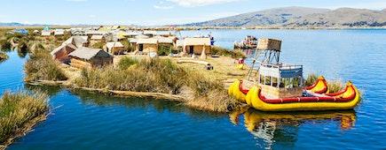 Lake Titicaca,South America, located on border of Peru and Bolivia
