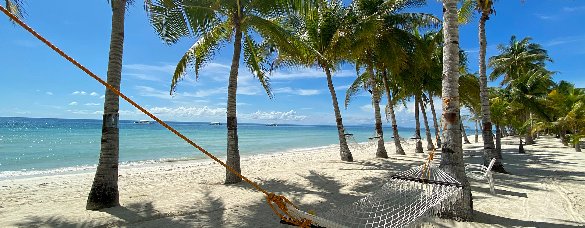 Relaxing hammock in a palm forest close-up, Beautiful white sandy beach