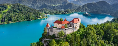 Bled, Slovenia - Aerial panoramic view of beautiful Bled Castle
