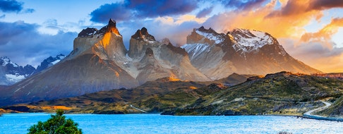 Torres Del Paine National Park, Chile. Sunrise at the Pehoe lake
