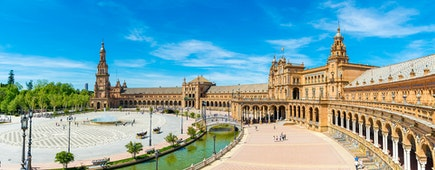 A panoramic view of the Plaza de Espana in Sevilla, Andalucia, Spain