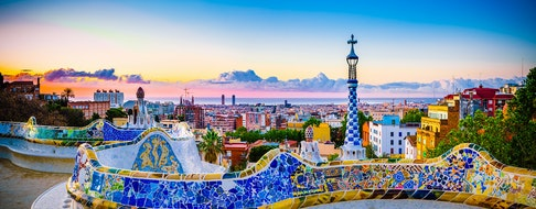 Park Guell by architect Gaudi in a summer day in Barcelona, Spain