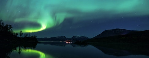 Northern Lights over Abisko National Park in Swedish Lapland. One of the best place to see the Aurora Borealis