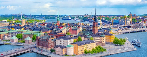 Stockholm Old Town (Gamla Stan) aerial panorama from City Hall, Sweden