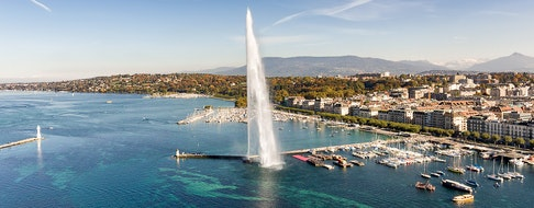 Aerial view of Geneva and the Jet D'Eau fountain
