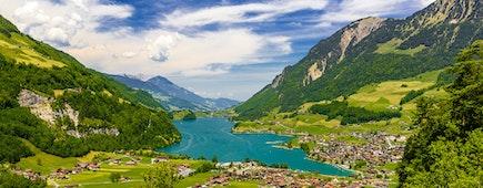 Village near Lake Lungern, Lungerersee, Obwalden Switzerland