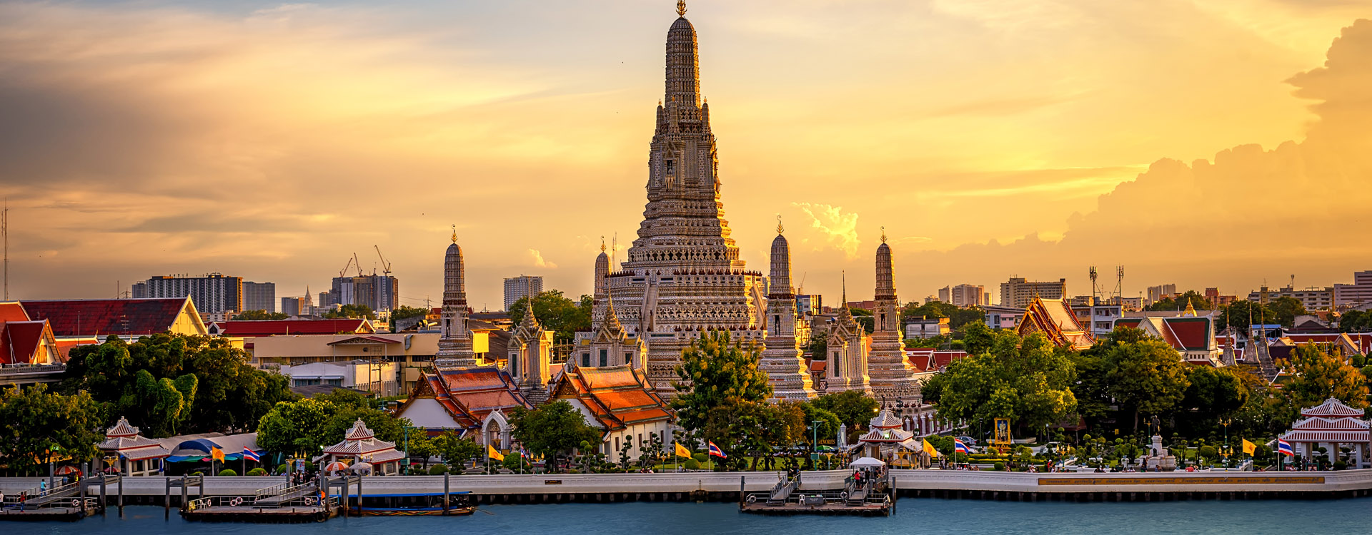 Wat Arun Buddhist Temple in bangkok Thailand. Yai district of Bangkok, Thailand landmark