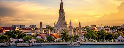Wat Arun Buddhist Temple in bangkok Thailand. Yai district of Bangkok, Thailand landmark