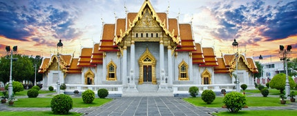 Traditional Thai architecture, Wat Benjamaborphit or Marble Temple, Bangkok