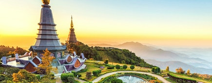 Landscape of two pagoda at the Inthanon mountain at sunset, Chiang Mai, Thailand