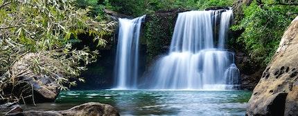 Beautiful waterfall, Klong Chao waterfall, Koh Kood, Trat, Thailand
