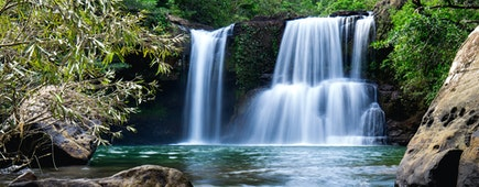 Beautiful waterfall, Klong Chao waterfall, Koh Kood, Trat, Thailand
