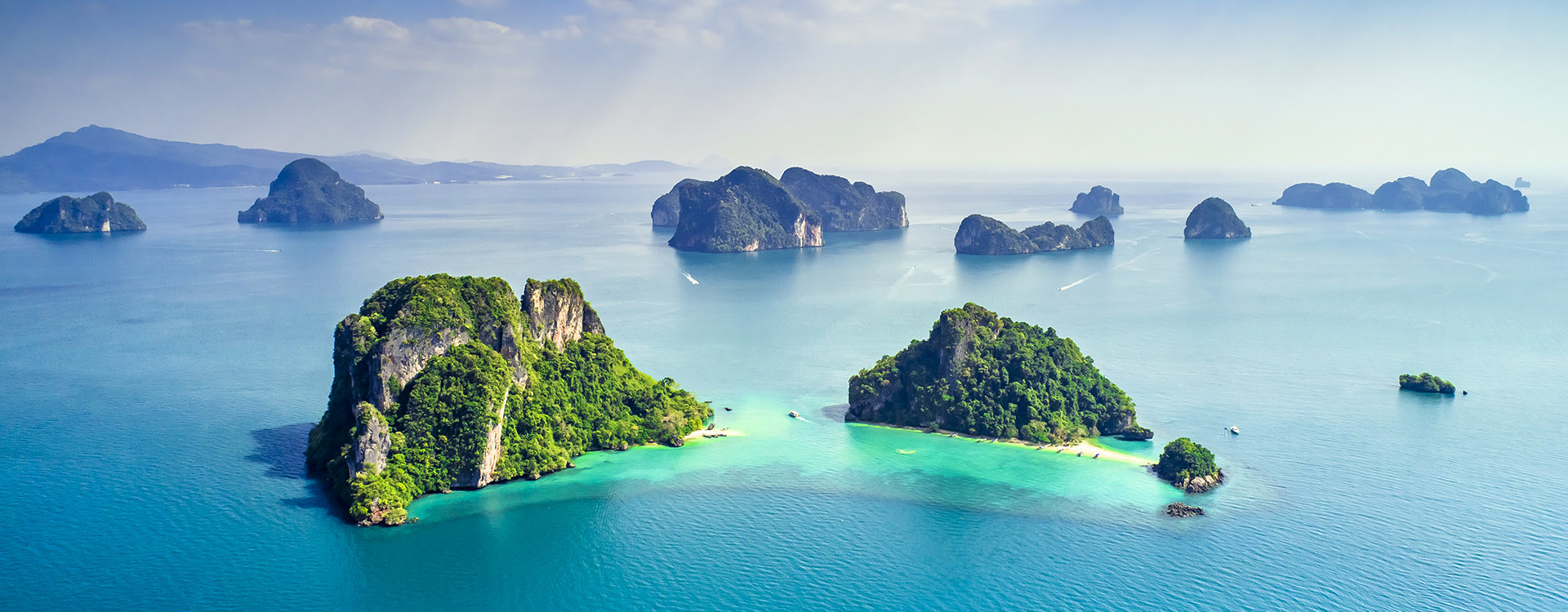 Surrounding Islands of Koh Yao Noi, Phuket, blue sky and waters with small islands