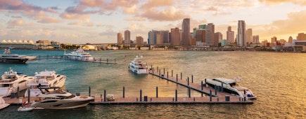 Downtown Miami, Florida, USA, and the port, MacArthur Causeway at sunset