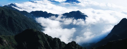 Fansipan, Sapa, Vietnam view of the heaven. Sunny day, among the clouds