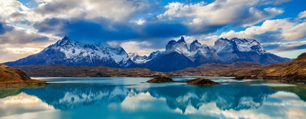 The Torres del Paine National Park sunset view. Torres del Paine is a national park encompassing mountains, glaciers, lakes, and rivers in southern Patagonia, Chile.