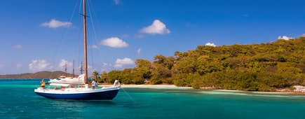 Privat yacht on The Tobago Cays are a group of islands belonging to St. Vincent and the Grenadines in the Caribbean, Union Island