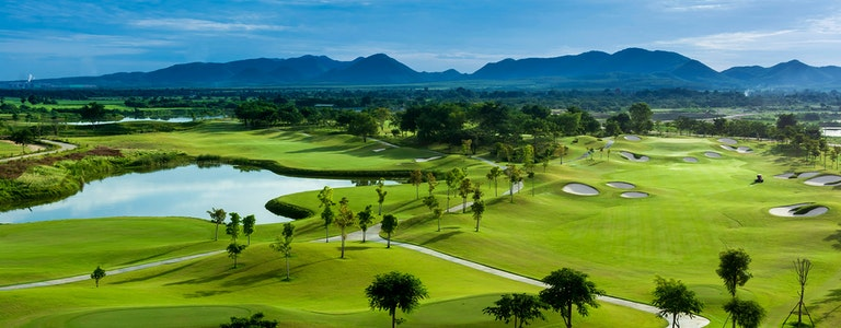 Golf course with a rich green turf beautiful scenery