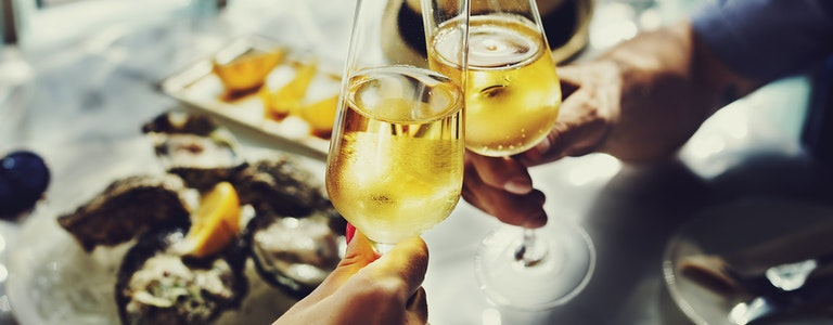 Champagne Celebration Toast and oysters