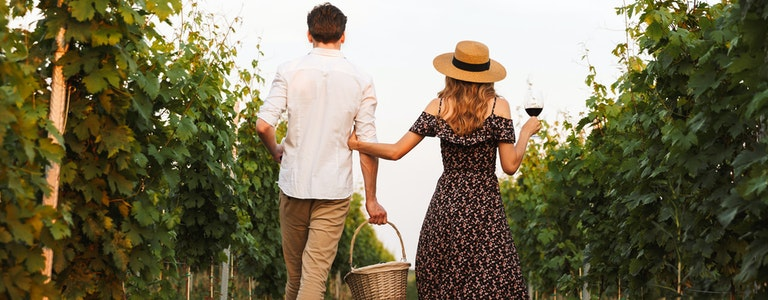 Back view of young cute loving couple outdoors drinking wine holding basket with bottles.