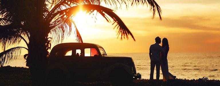 Wedding sunny couple in Cuba near the sea