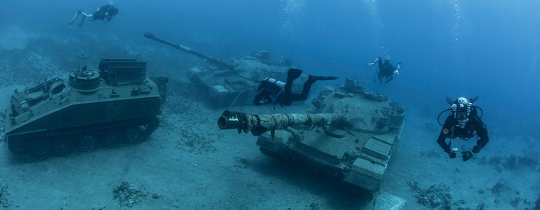 Diving in Jordan in Aqaba, where under water there are armored vehicles and tanks and other military equipment